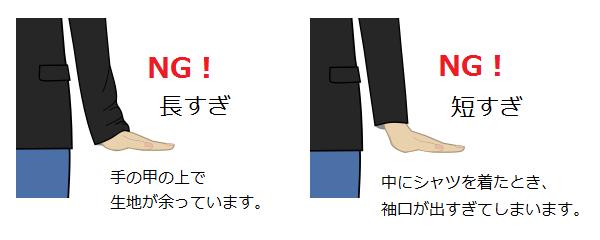 ジャケット・袖丈(NG例)