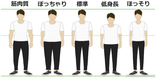 男性の体型(筋肉質・ぽっちゃり・標準・低身長・ほっそり)