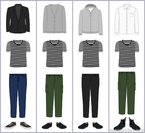 ボーダーTシャツの組み合わせ例