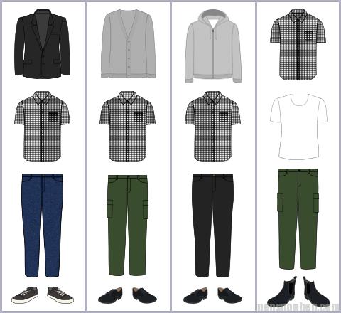 ギンガムチェックシャツの組み合わせパターン例