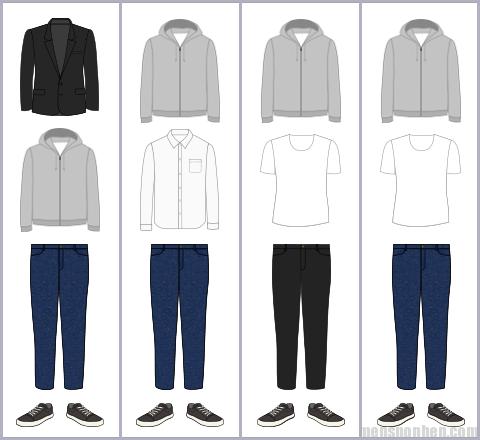 パーカーの組み合わせパターン