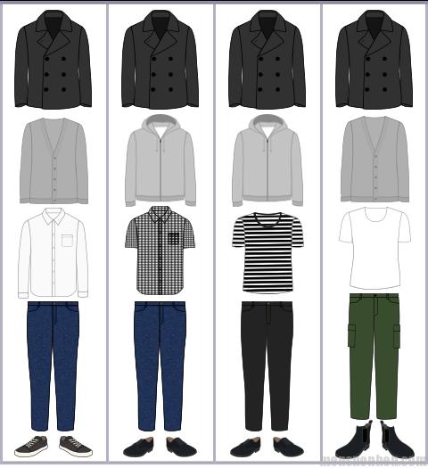 Pコートの組み合わせ例