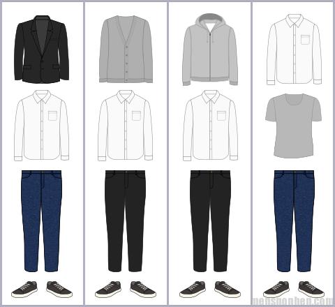 白シャツの組み合わせパターン