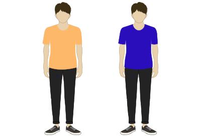 膨張色(オレンジ系)と収縮色(ブルー系)