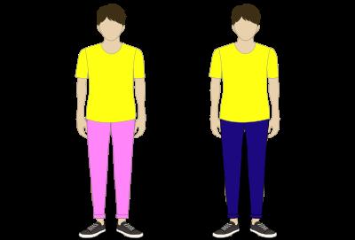 パンツの色(ピンク・紺)