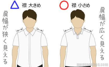 肩幅狭い(大きい襟・小さい襟)