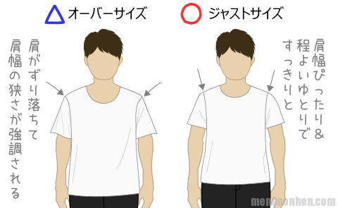 肩幅狭い・オーバーサイズ
