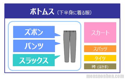 ボトムス、ズボン、パンツ、スラックス