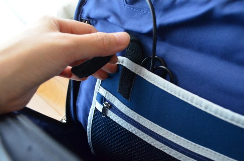 本体内部・タブレットポケット(マジックテープを外す)